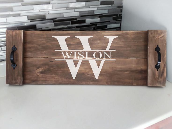 "Rustic Wooden Tray Project ""Split Monogram""  11""x 32"""