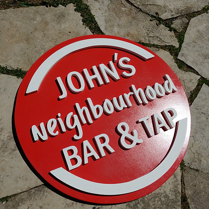 """3D wooden sign project """"bar and tap"""" personalized 23.5"""" round"""