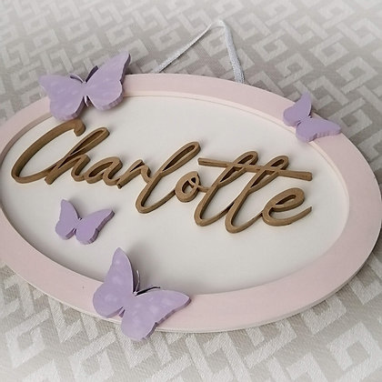 """3D sign - OVAL One Name - butterfly 10""""x15""""  fully finished"""