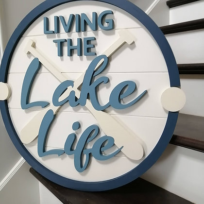 """3D Wooden Sign Project """" Lake Life"""" 23.5"""" round DIY"""
