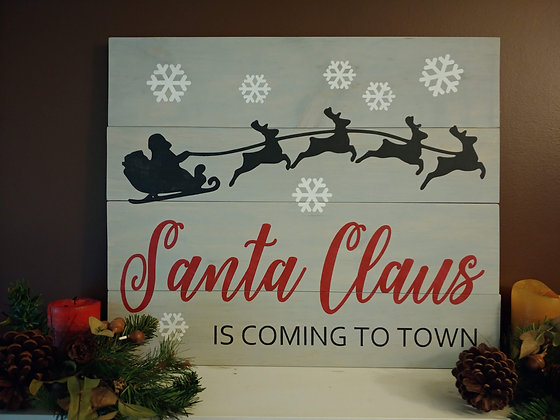 "Rustic Wooden project - ""Santa Clause- sleigh""20x24"