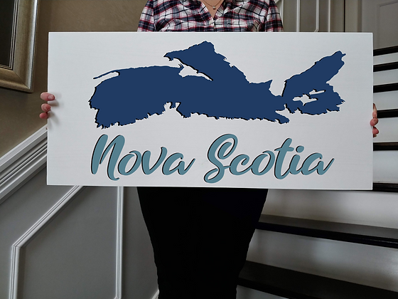 "3D wooden sign project ""Map +NovaScotia""   15""x32"""
