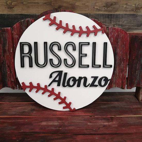"CUSTOM 3D sign - baseball custom 23.5"" round fully finished"