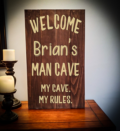 "Rustic Wooden Sign Project ""Mancave"" 14""x24"""