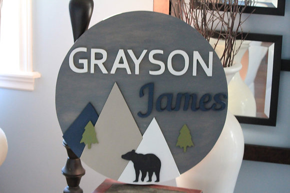 """3D wooden sign project """"Two Names"""" Mountains  23.5"""" round"""