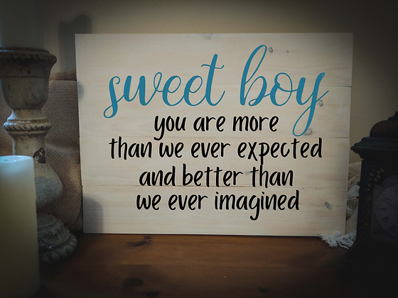 "Rustic Wooden Sign Project""Sweet Boy""   18""x 24"""