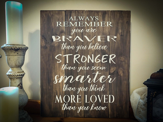 "Rustic Wooden Sign ""Always Remember"" 20""x24"""