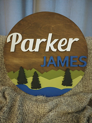 "3D wooden sign project ""Two Names"" lake+spruce   23.5"" round"