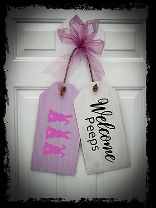 """Wooden Door Tags """"Welcome / PEEPS""""  17""""x 16"""" (attached tag size)"""
