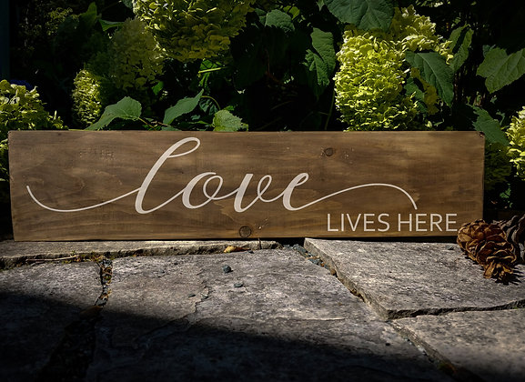 "Rustic Wooden Plank ""love Lives Here""   5""x24"""