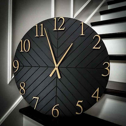 "3D Clock - Herringbone -  23.5""  round fully finished"