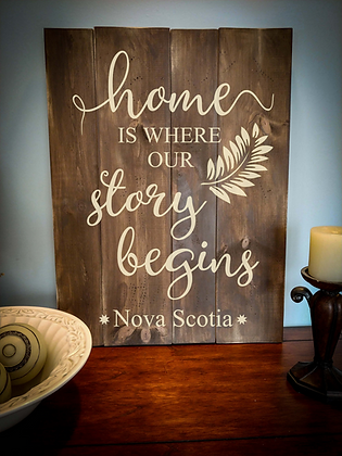 "Rustic Wooden Sign Project ""Home Story Begins""   18""x 24"""