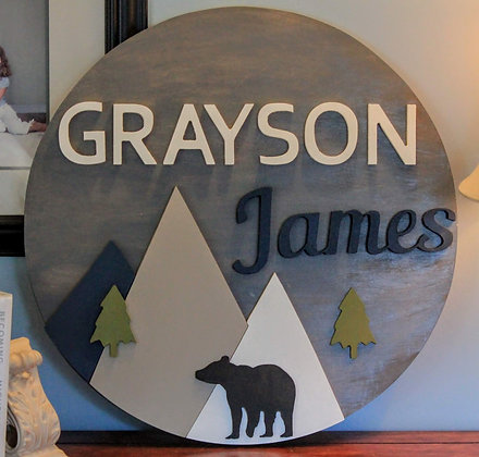 "3D sign - Bear & Mountains /Two Names 23.5"" round fully finished"