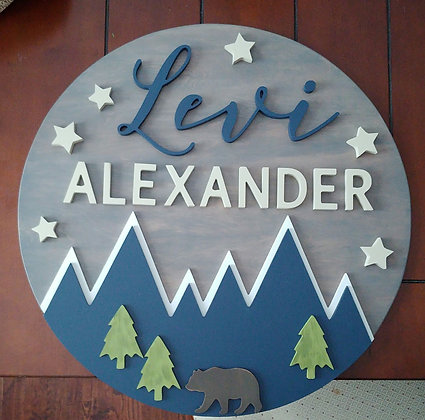 "Roper- CUSTOM 3D sign - 23.5"" Two Name +auto image"