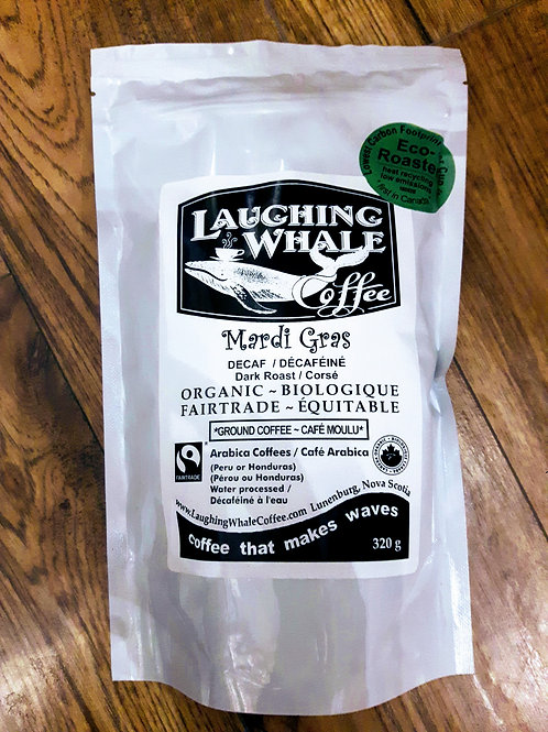 "Laughing Whale ""Mardi Gras decaf"" whole bean 12oz"