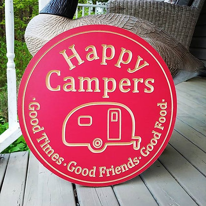 """Carved Wooden round 16"""" """"Happy Campers"""" OUTDOORS"""