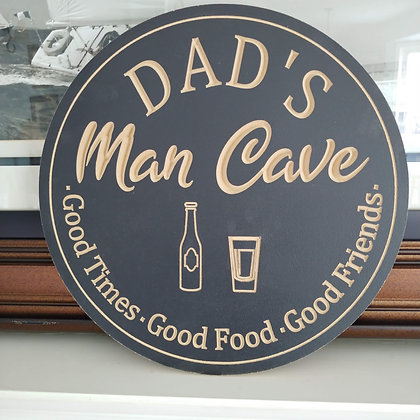 "Carved Wooden round 16"" ""Dad's Man Cave"""
