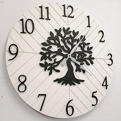 """3D Clock PROJECT - XL Herringbone+Tree -  30""""  round MDF"""