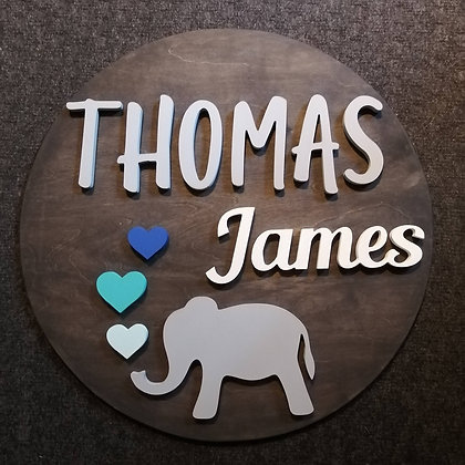 "3D sign - Two Names - Elephant 23.5"" round fully finished"