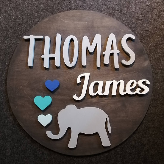 """3D sign - Two Names - Elephant 23.5"""" round fully finished"""