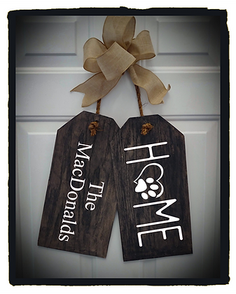 "Wooden Door Tags ""Home Paw / Surname"" fully finished"