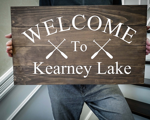 """Rustic Wooden Sign Project """"Welcome to ( Oars )"""" 14""""x24"""""""