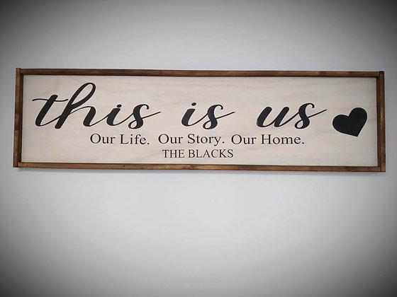 Custom  sign  14x50 this is us framed no personalization