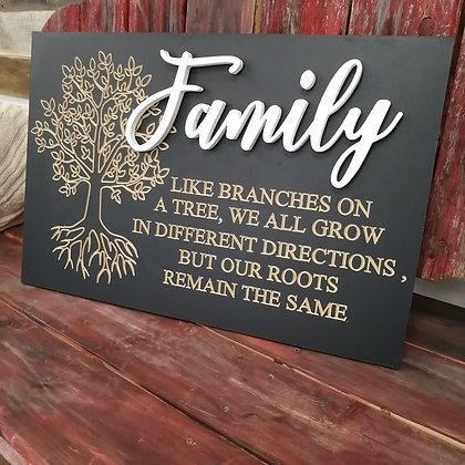 """Carved / 3D sign - Family Tree -  16""""x24""""  MDF fully finished"""