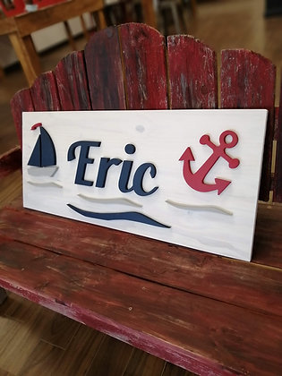 "3D wooden Sign Project "" name+nautical"" 15""x36"" DIY"