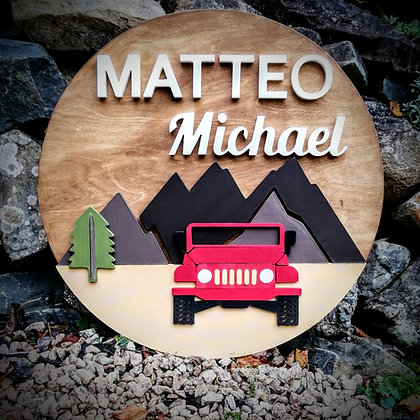 """3D  Sign Project """" 2 name Jeep"""" 23.5"""" round DIY"""