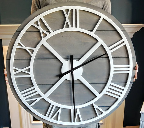 "3D clock XL - Roman Round on Slatboard -  30""  round fully finished"