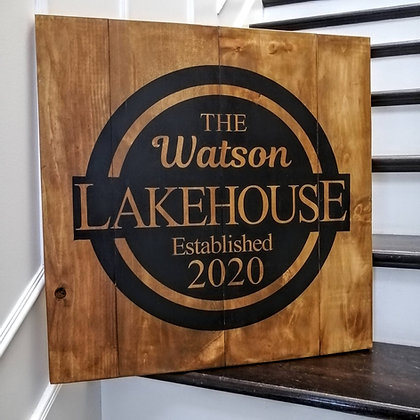 "Rustic Wooden Sign Project ""Lake house- surname""   18""x32"""