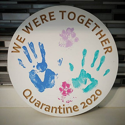 "Carved wooden project ""Quarantine 2020"" DIY hand prints"