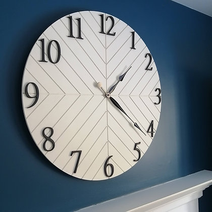 "3D Clock - Herringbone XL -  30""  round fully finished"