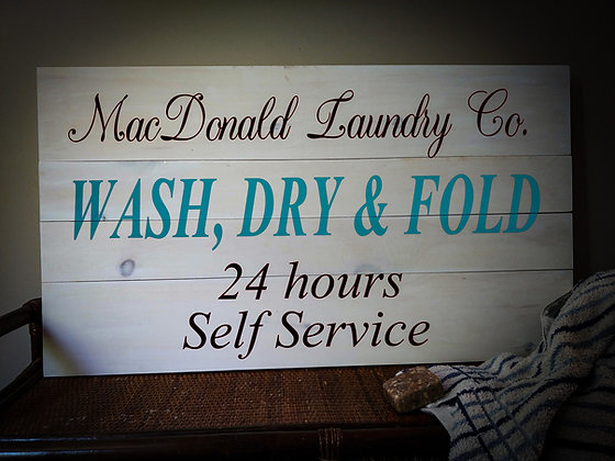 """Rustic sign - """"Wash dry Fold"""" Personalize 18x32    fully finished"""