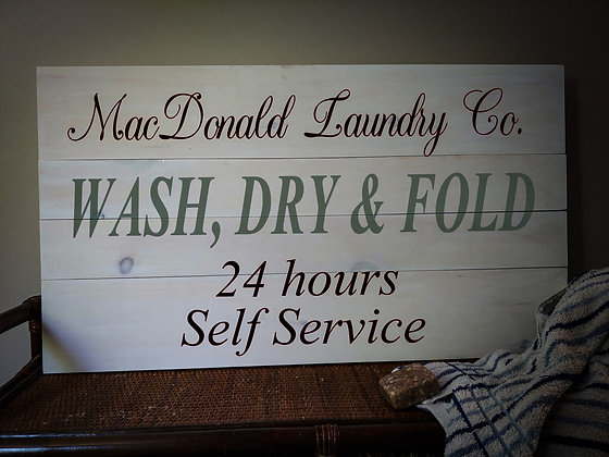 "Rustic Wooden Sign ""Wash/Dry/Fold""   18""x32"""