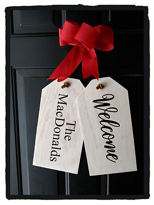 "Wooden Door Tags ""Welcome / Surname"" fully finished"