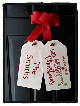 """Wooden project Door Tags """"Merry Little Xmas / surname"""""""