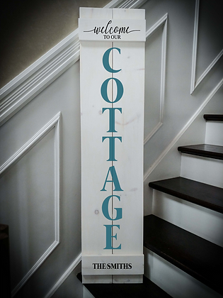 "Porch sign - ""Cottage - Surname"" 11""x48""   fully finished"