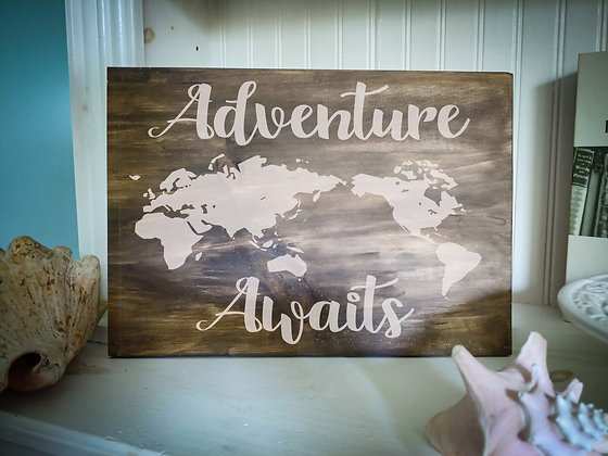 """Rustic Wooden Plank project """"Adventure Map""""   12""""x16"""""""