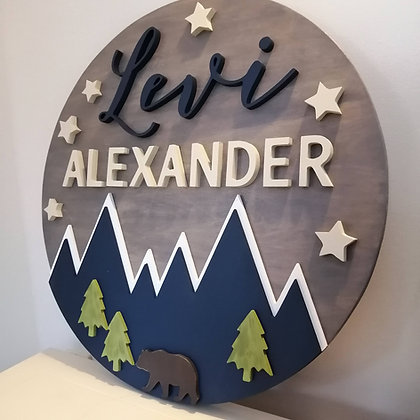 """3D sign - """"Mountains and stars""""  Two Name   23.5""""round   fully finished"""