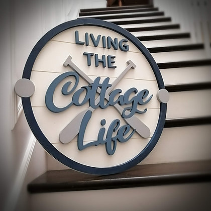 "3D Wooden Sign Project "" Cottage Life"" 23.5"" round DIY"