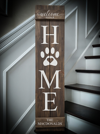 """Porch sign - """"HOME PAW - Surname"""" 11""""x48""""   fully finished"""