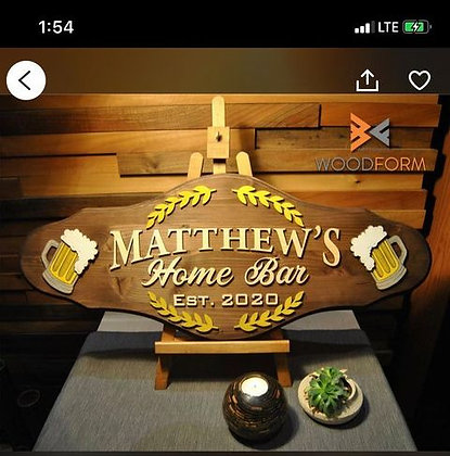"CUSTOM 3D sign - 15""x36"" HOME BAR fully finished"