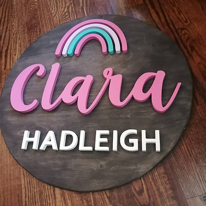 "3D Wooden Sign Project "" Rainbow 2 name"" 23.5"" round"