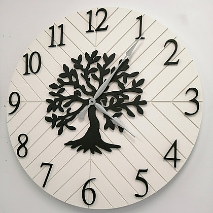 "3D Clock - herringbone and treeXL -  30""  round fully finished"