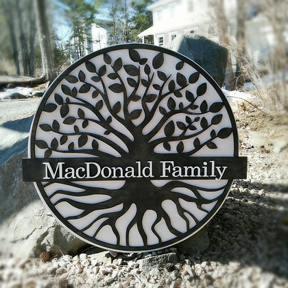 """3D sign - """"porch plaque TREE personalized""""   23.5""""round   fully finished"""