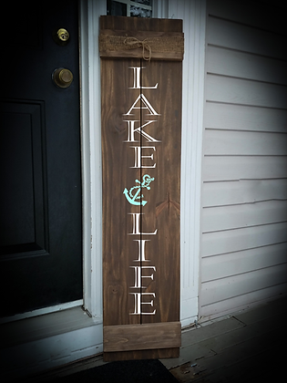 "Porch sign - ""Lake Life"" 11""x48""   fully finished"