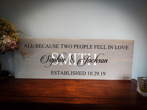 "Rustic Wooden Sign Project ""Two People Fell in Love""  11""x 32"""