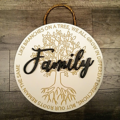 """3D/ carved MDF Sign Project """" Family Tree"""" 15.5"""" round DIY"""